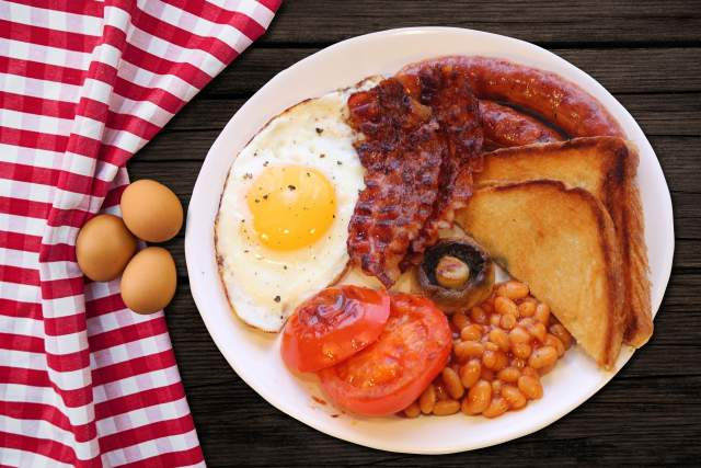 English breakfast with fried egg