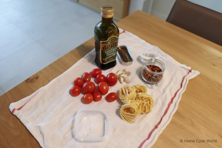 Ingredients for cherry tomato and anchovy pasta