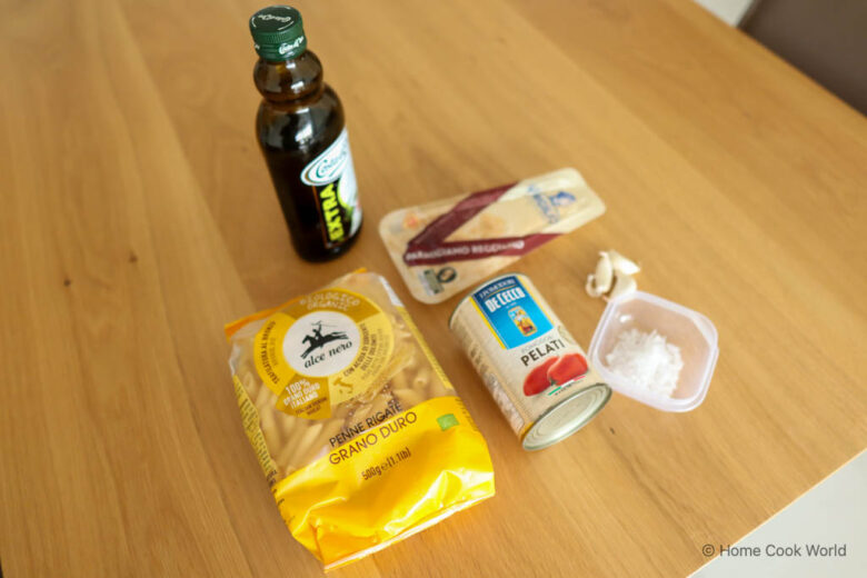 Ingredients for penne tomato pasta