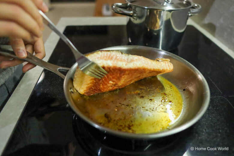 How to keep salmon fillet from sticking to stainless steel frying pan