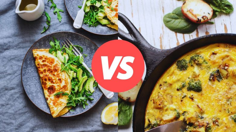 Photo of an omelet vs. a frittata