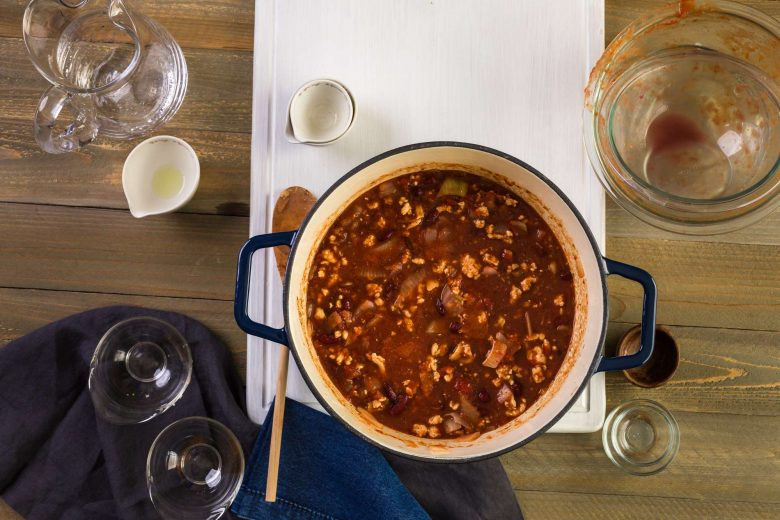 Food stewing in a Dutch oven