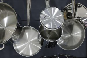 Photo of hung stainless steel pans and pots