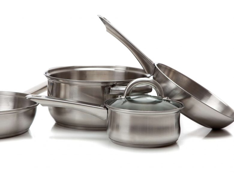 Photo of a stainless steel cookware set